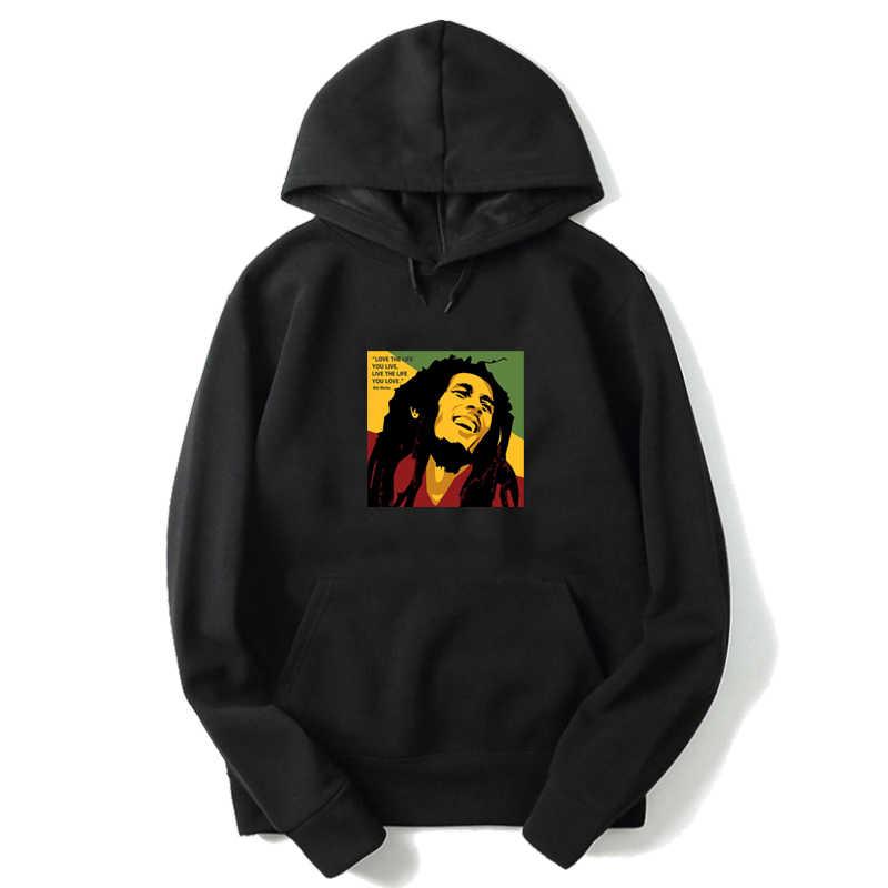 Bob Marley uzun kollu Hoodies sonbahar kadın erkek kazak Harajuku erkek kazaklar Tops Unisex uzun kollu kapüşonlu eşofman üstü