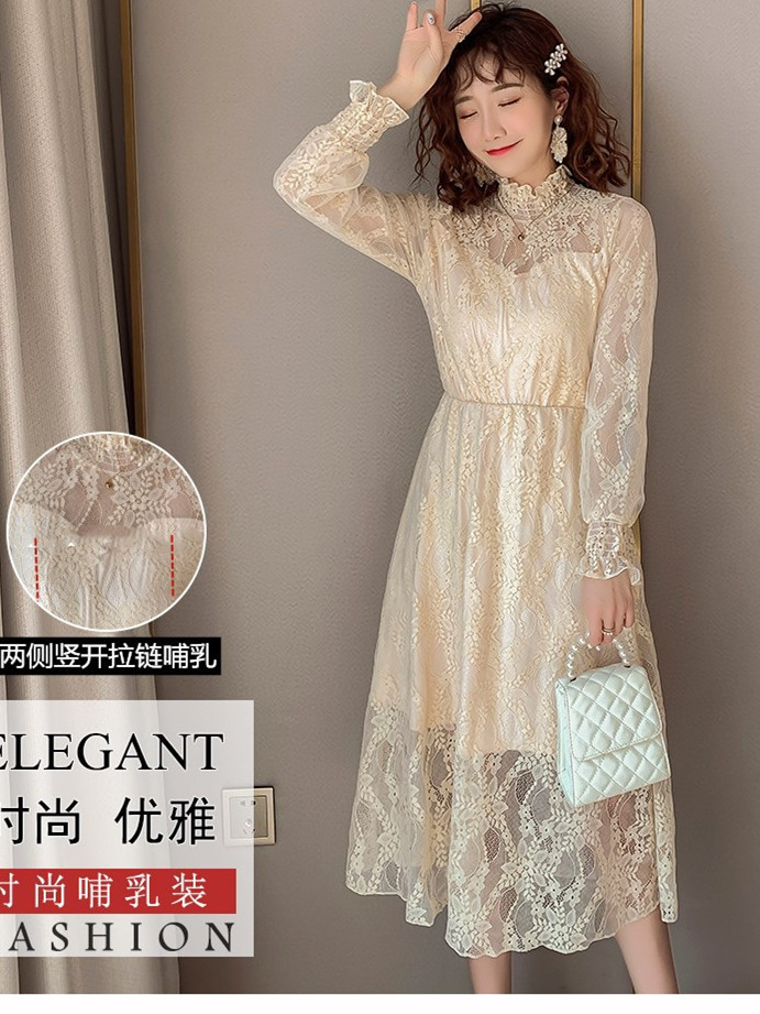 2020 Maternity clothing summer twinset lace maternity one-piece dress white embroidery maternity dress For Pregnant (2)