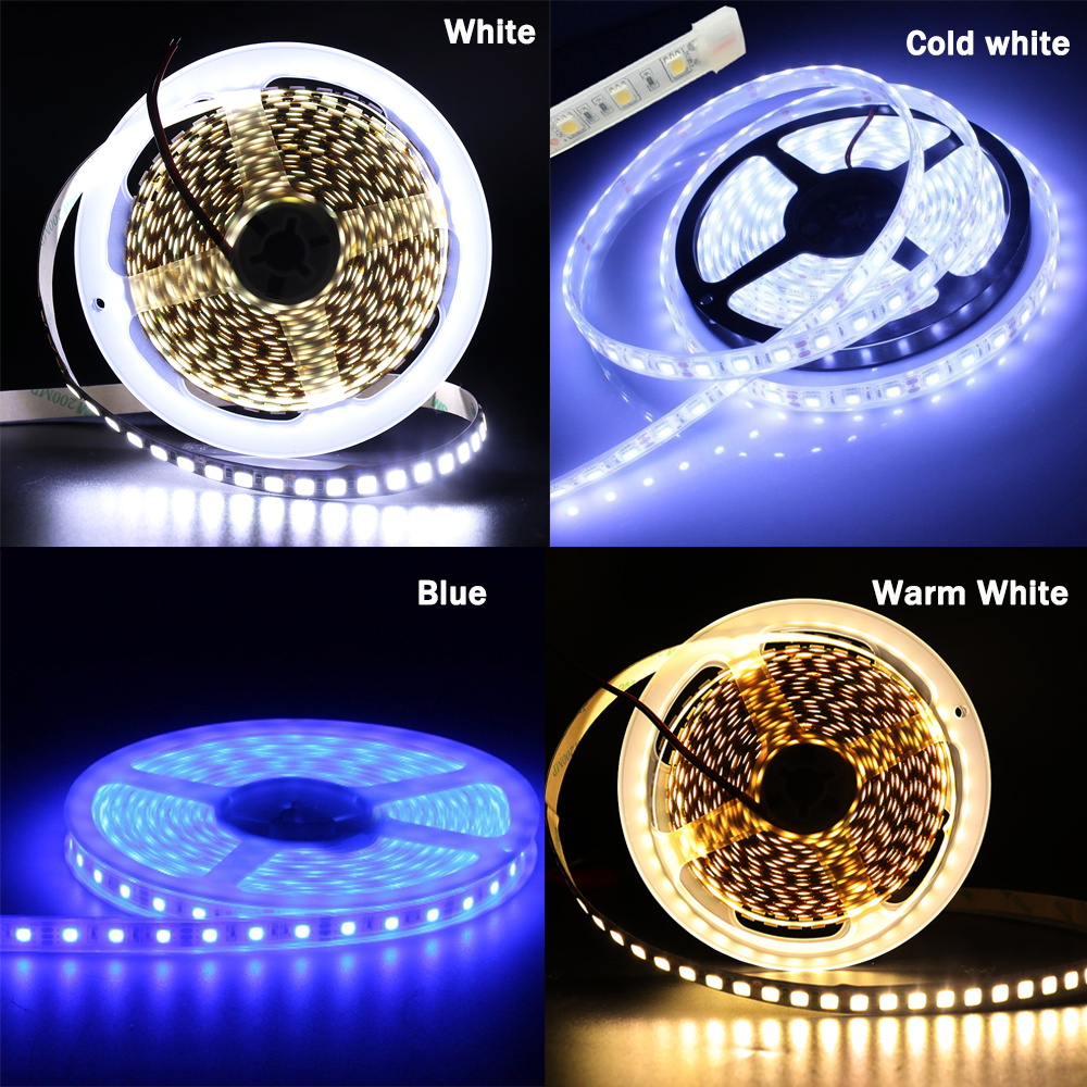 Hb8c99c9ddd7a4a0eb5a82f614b1808bbX 5M 600 LED 5054 LED Strip Light Waterproof DC12V Ribbon Tape Brighter Than 5050 Cold White/Warm White/Ice Blue/Red/Green/blue