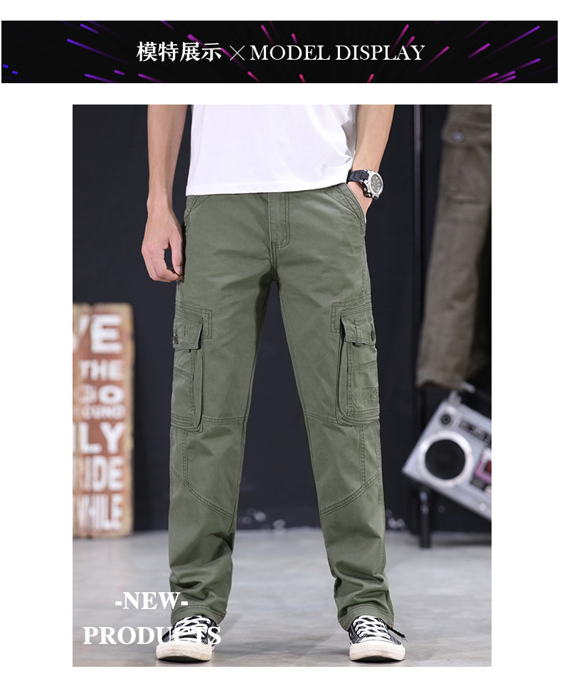 KSTUN Mens Military Cargo Pants Men Overalls Army Green Gray Cotton Men Loose Multi-Pockets Straight fit Men's Casual Trousers Homme 11