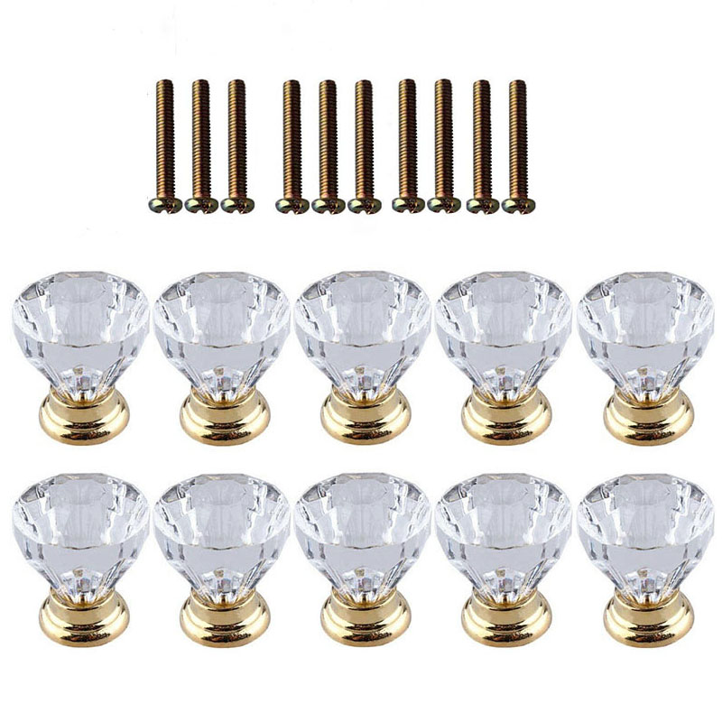 10 Pcs Crystal Glass Door Handle Drawer Cabinet Furniture Kitchen Handle Diamond Dressing Table Knob