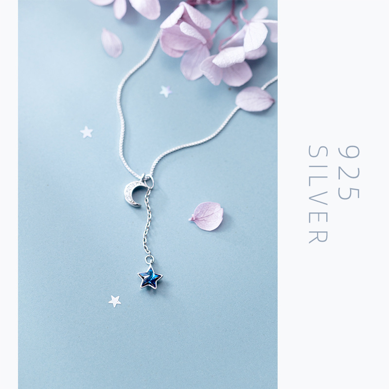 Colusiwei New 925 Sterling Silver Twinkling Moon Trassel Blue Crystal Star Pendant Necklace for Women Box Chain Fine Jewelry