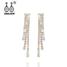 DREJEW Gold Silver Long Tassel Crystal Rhinestone Statement Earrings 2019 925 Drop Earrings Sets for Women Wedding Jewelry E5121 цена и фото
