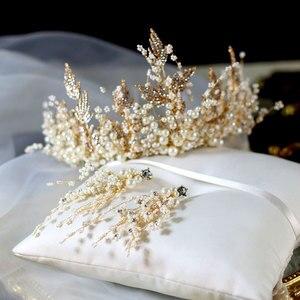Новый роскошный ювелирный набор, ручная работа, жемчуг, супер фея, корона, головной убор, серьги, свадебные аксессуары, бусы, ювелирный набор,...