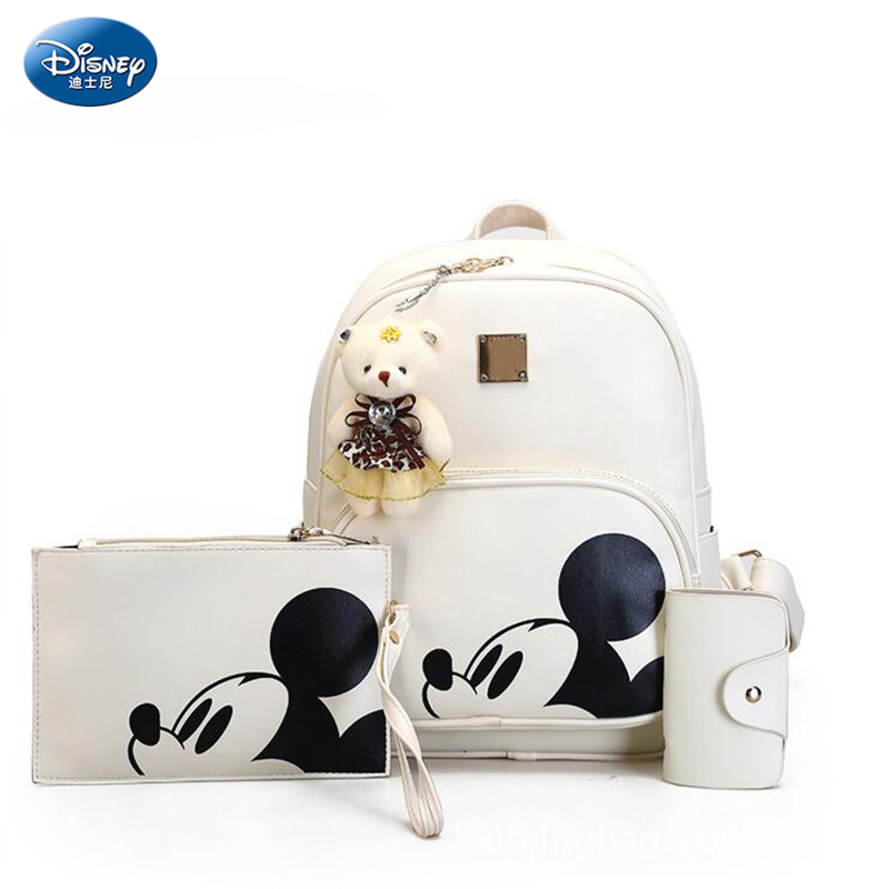 3pcs/set Disney Mickey Mouse Composite Backpack School Bags For Teenager Women Mickey Backpack Girl Pu Bagpack Mochila Mujer