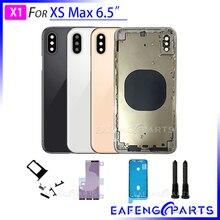 """Batterij Cover Voor i Telefoon XS MAX 6.5 """"Terug Behuizing Glas Achterpaneel met Midden Metalen Frame Back Deur"""