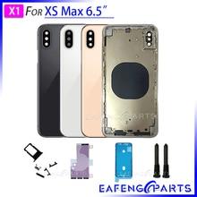 """Vỏ Nắp Lưng Đậy Pin Cho Tôi Điện Thoại XS Max 6.5 """"Trở Về Nhà Ở Kính Bảng Điều Khiển Phía Sau Với Trung Khung Kim Loại Cửa Sau"""