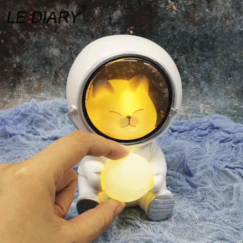 Ночной светильник LEDIARY Animal Astronaut, собака, кошка, медведь, украшения, светильник для животных, настольная лампа, теплый белый декор из смолы, светильник ing