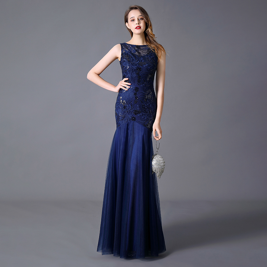 Plus SizeMermaid Evening Dress Sleeveless  Appliqued Lace Sequined Tulle Floor-length Dress Party Gown Robe De Soiree 2020 2