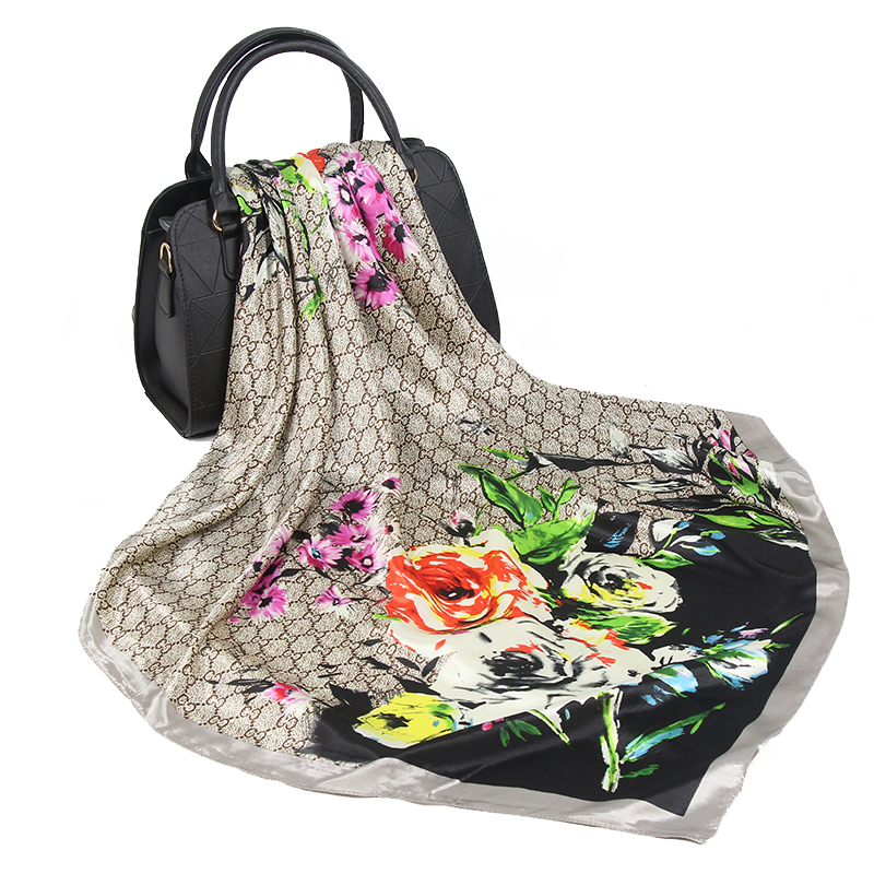 Silk Scarf Women Luxury Brand Square 90*90cm Hoofd Sjaal Foulard Bandanna Shawl Satin Silk Hijab Head/hair Scarves
