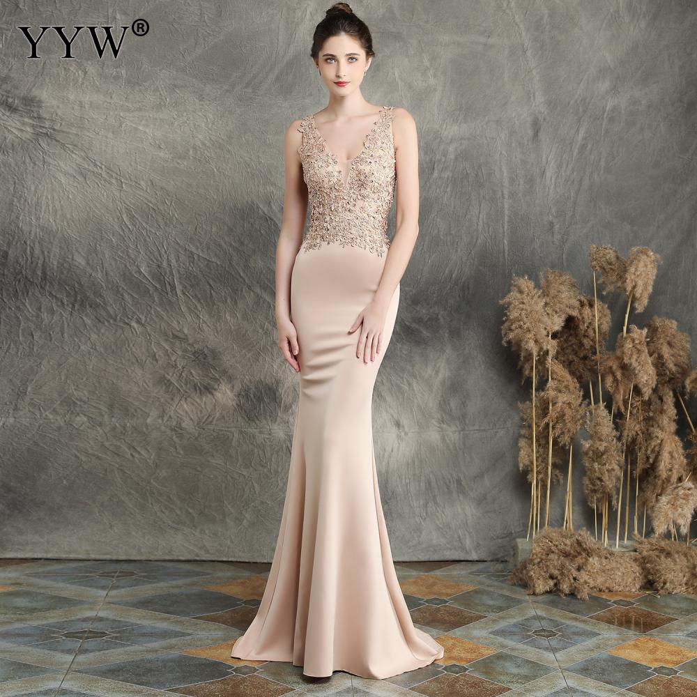 Women Elegant Long Party Dresses V Neck Appliques Evening Dress Sleeveless Backless Sexy Robe Soiree Mermaid Dress Ladies Gowns