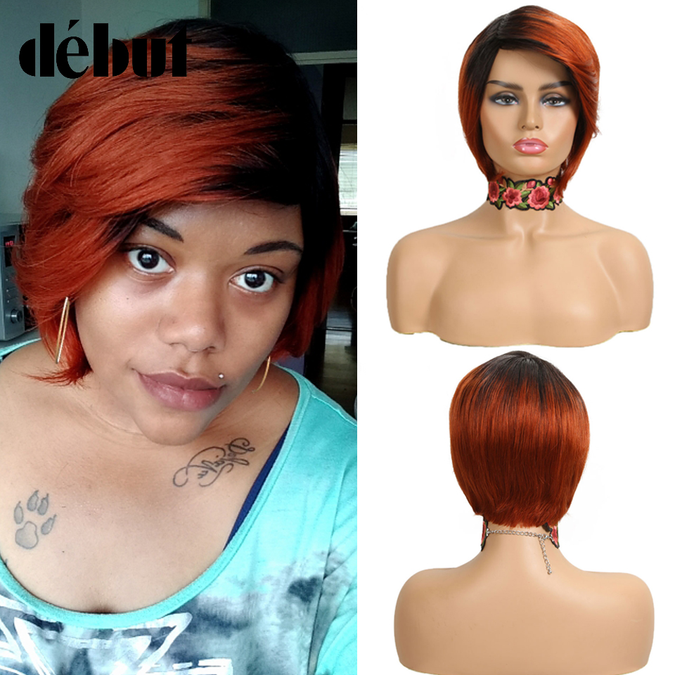 Debut Ombre Short Bob Wigs Cheap Human Hair Wigs For Black Women 99J Red Pixie Cut Brazilian Remy Straight Human Hair Extensions