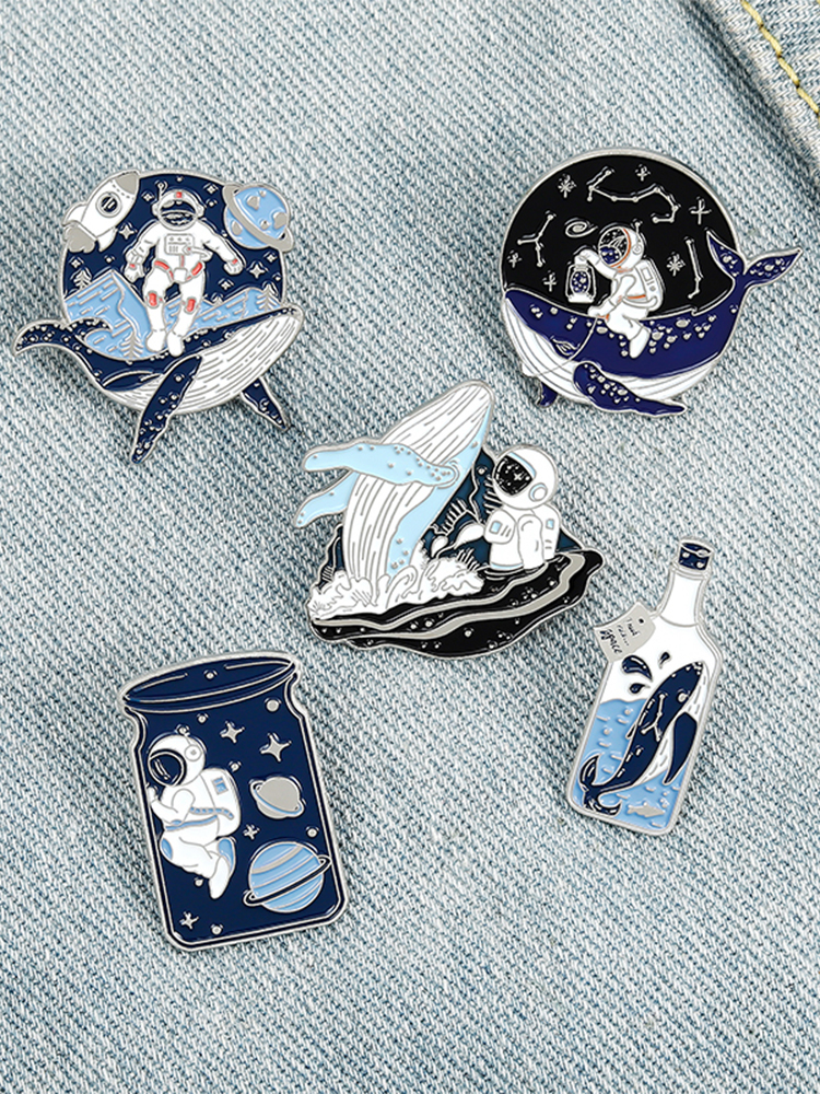 Astronaut and Whale Enamel Pin Adventure Ocean Drifting Wishing Bottle Brooches Bag Lapel