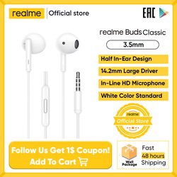 Realme Buds Classic Earphone In-line HD Microphone Built-in Music r Call Control Tangle Free 14.2mm Audio Drive for Smartphone