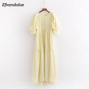 Efvandoloe Yellow Maxi Dress Long Elegant Puff Sleeve Women Party Summer Dresses 2020 Robe(China)