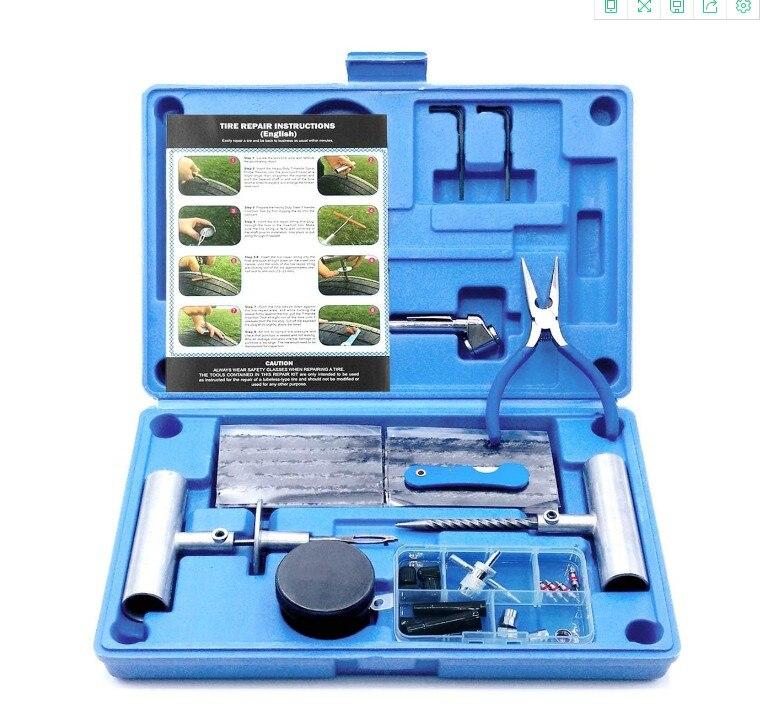 67 шт. набор инструментов для ремонта шин набор для ремонта шин бескамерный, автомобильный инструмент для ремонта сверхмощных шин вакуумный комплект для ремонта шин прокол