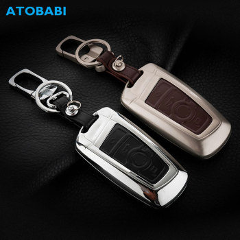 Zinc Alloy+Leather Car Key Case For BMW 520 525 730li 740 118 320i 3 5 7 Series X3 X4 M3 M4 M5 Keychain Remote Fob Shell Cover image