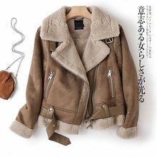 Ailegogo Women Winter Faux Shearling Sheepskin Fake Leather Jackets Lady Thick Warm Suede Lambs Short Motorcycle Brown Coats