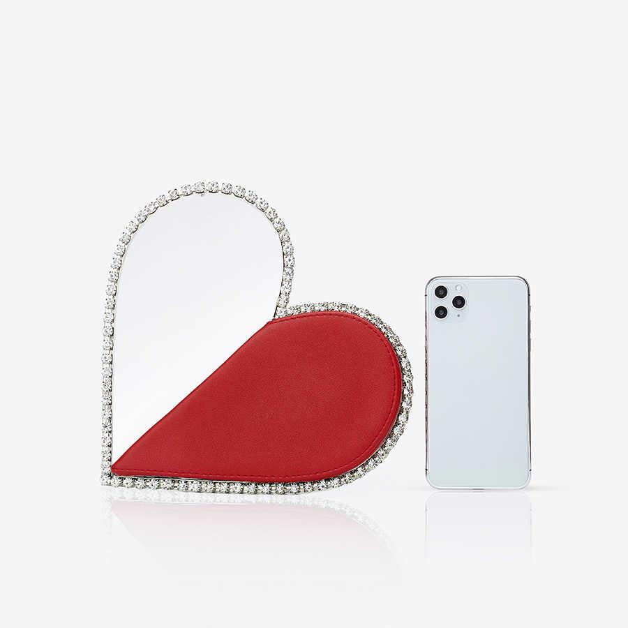 Diamant Rot Herz Abend Kupplung Taschen Frauen 2020 Designer Chic Strass Metall Griff Schwarz Geldbörse Für Hochzeit Party Sac EIN wichtigsten