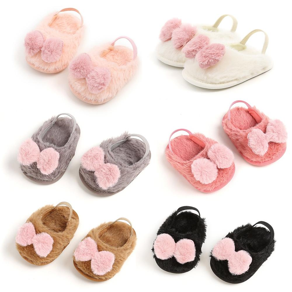 Spring Summer Fur Infant Toddler Kids Indoor Shoes Baptism Birthday Present Princess Little Girl Shoes Prewalker