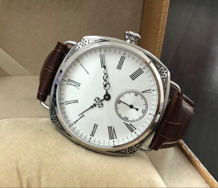 47mm GEERVO Aziatische 6498 17 juwelen Mechanische Hand Wind beweging carving decoratief patroon case Mechanisch horloge gr229 g8-in Mechanische Horloges van Horloges op  Groep 2