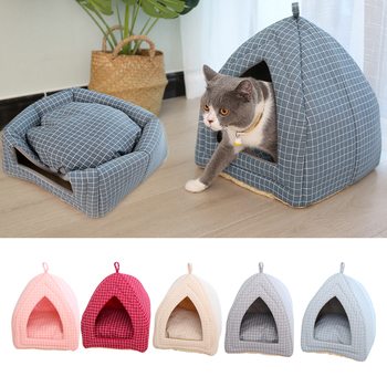 Foldable Fabric Pet Dog Cat Bed Soft Cone Shape Cat Pet Cat House Warm Sleeping Nest For Cat Washable Cute Pet Supplies image
