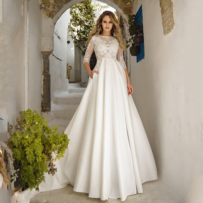 Verngo A line Wedding Dress Simple Satin Wedding Gowns New Bride Dress Lace Appliques Boho Wedding Dress Vestidos De Noiva-in Wedding Dresses from Weddings & Events