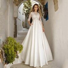 Verngo A ラインのウェディングドレスシンプルなサテンのウェディングガウン新花嫁のドレスのレースアップリケ自由奔放に生きるウェディングドレス Vestidos デ Noiva