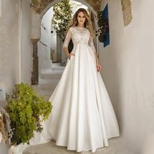 Verngo אונליין חתונת שמלה פשוט סאטן חדש שמלות הכלה שמלת תחרה אפליקציות Boho חתונת שמלת Vestidos De Noiva