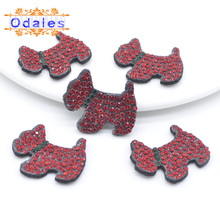 25Pcs/lots Cute Dog Patches Colorful Rhinestone Scrapbooking Appliques DIY Craft Hairclip Bag/Cloth Crystal Accessory C260