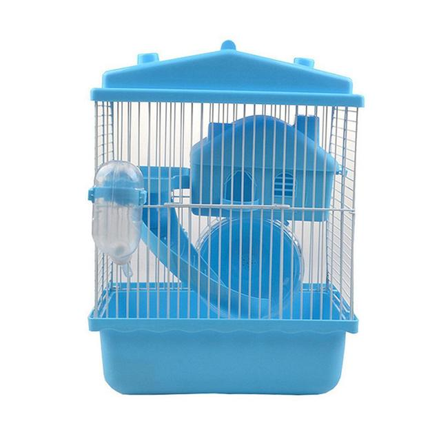 2-storey Pet Hamster Cage With Running Wheel Drinking Water Bottle Food Basin Castle For Small Pet House Mice Home Habitat Decor 5