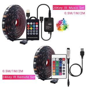 1 м-5 м DC5V USB Светодиодная лента Набор 5050RGB с RF IR Bluetooth музыкальный контроллер гибкий светильник для ТВ фоновая лампа Лента светодиодная лента