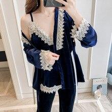 Pyjama Suit Robe Velvet Women Gown Lace Nightwear Velour New Autumn Pant 3PCS M-XL