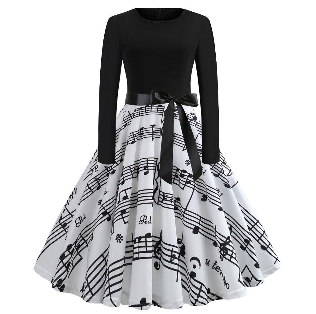 Impressão digital de natal vestido feminino outono inverno grande swing manga longa o pescoço vestidos moda elegante cintura alta vestido