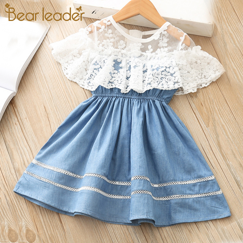 Bear Leader Girls Dresses New Princess Dress Kids Jean Unicorn Embroidery Girls Party Dress Children Clothing For 2 7 Years