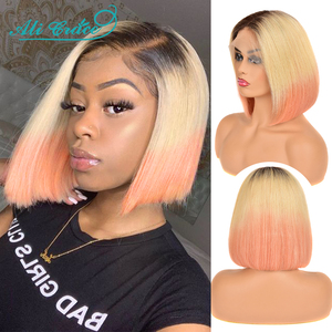 Ali Grace Bob Lace Front Wigs Pre-plucked Straight Lace Front Wig 1B-613-Rose-Gold 4 Colors Brazilian Short Bob Wig for Women(China)