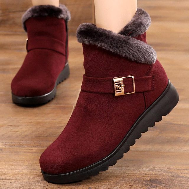 Suede sneakers women snow boots 2020 solid flat with plush warm snow boots women zipper casual shoes woman winter ankle boots