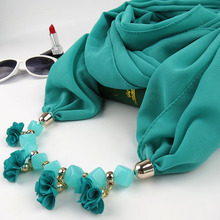 2019 New Small cloth flower Necklace Pendant Scarf National Ladies Korean Joker Decorative pendant scarf