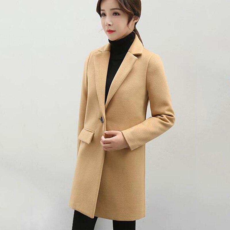 2019 nouveau automne hiver haute qualité femmes veste moyenne longue femmes manteau costume col solide couleur laine manteau femelle cc1363