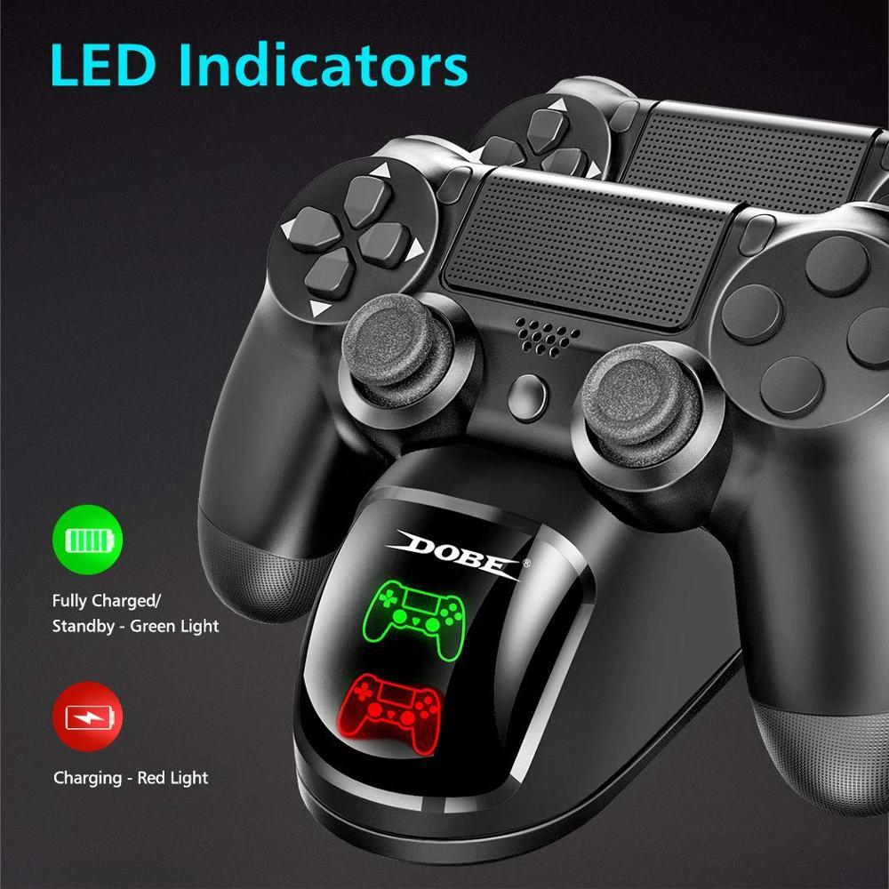 Carregador de carregamento rápido do suporte da estação da doca do punho duplo usb para ps4/ps4 magro/ps4 pro joystick do controlador do jogo