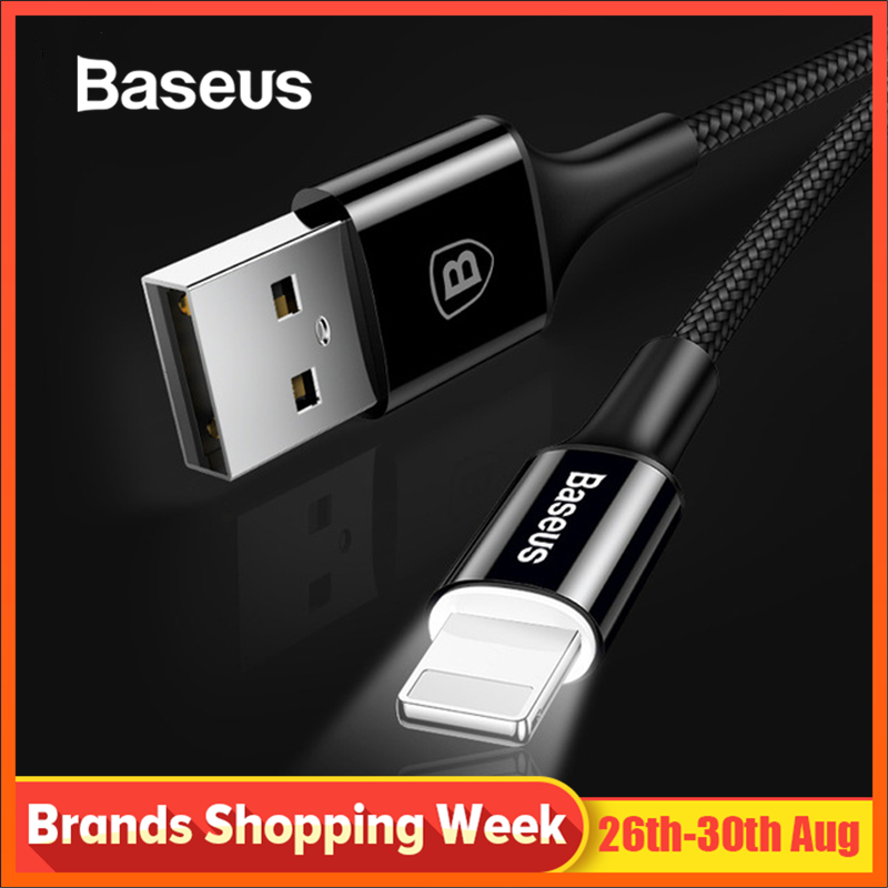 Baseus LED lighting Charger Cable For iPhone X 8 7 USB Cable For iPhone iPad Fast Charging
