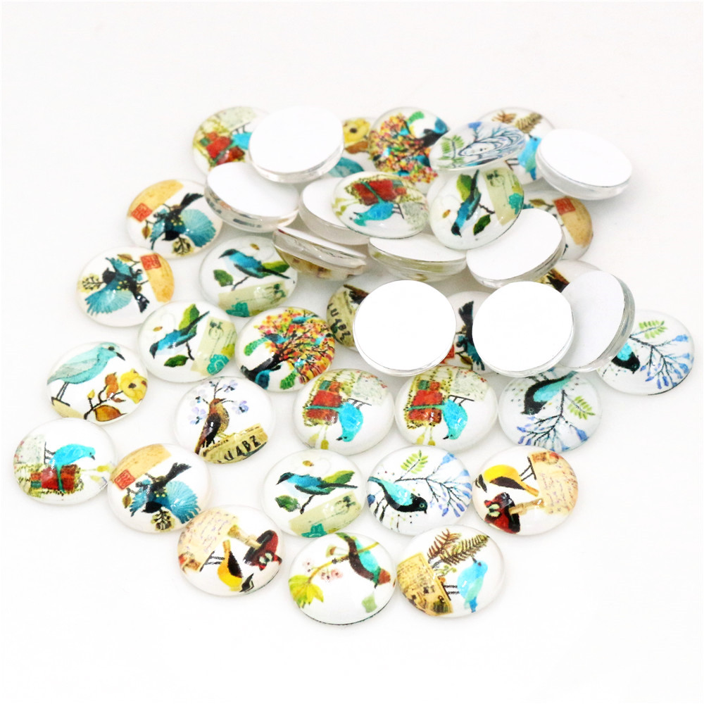50pcs/Lot 12mm Bird Fashion Photo Glass Cabochons Mixed Color Cabochons For Bracelet Earrings Necklace Bases Settings