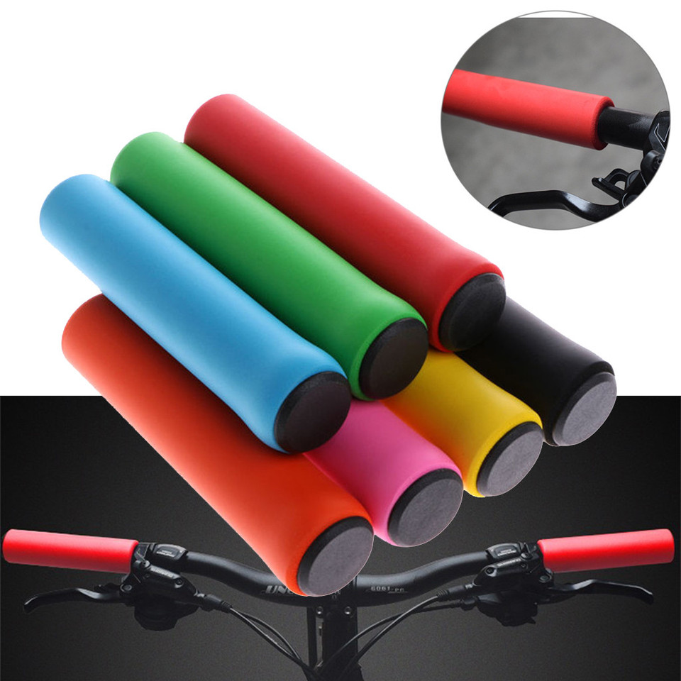 1 Pair Anti-slip Silicone Sponge Handlebar Grip Cover For Mountain Bike Bicycle