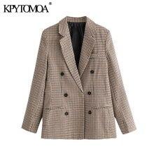KPYTOMOA נשים 2020 אופנה משרד ללבוש טור כפתורים כפול טרייל מעיל בציר ארוך שרוול כיסי נשי הלבשה עליונה שיק חולצות