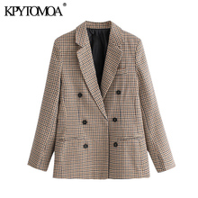 KPYTOMOA Frauen 2020 Mode Büro Tragen Zweireiher Blazer Mantel Vintage Langarm Taschen Weibliche Oberbekleidung Chic Tops