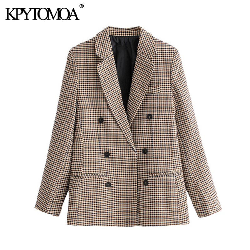 KPYTOMOA Women 2020 Fashion Office Wear Double Breasted Blazers Coat Vintage Long Sleeve Pockets Female Outerwear Chic Tops