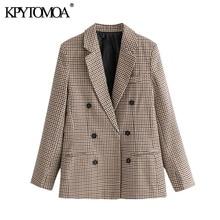 KPYTOMOA Women 2020 Fashion Office Wear Double Breasted Blazers Coat Vintage Long Sleeve Pockets Female Outerwear Chic Tops