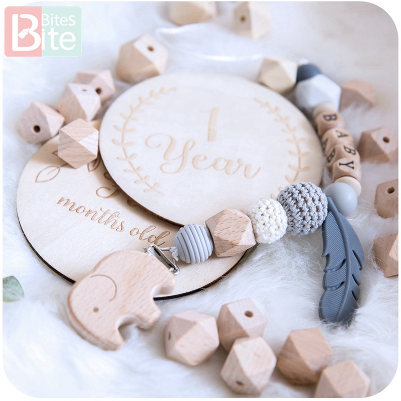 Купить с кэшбэком Bite Bites 8-20mm Baby Wooden Teether Beech Beads Rings BPA Free Wooden Blank DIY For Nursing Gifts Tiny Rod Children'S Goods