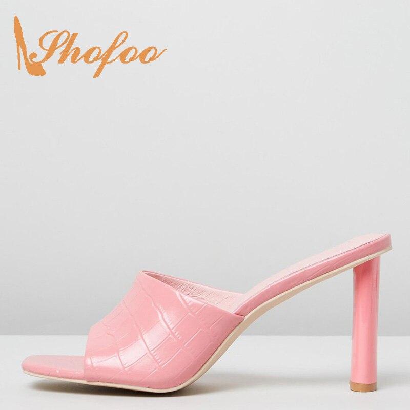 Shofoo rose Croc sans lacet sandales Super talons carré orteil chaussures pour dames été Mature Sexy grande taille 13 16 mode loisirs