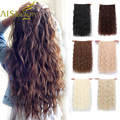 Aisi beleza grampos longos na extensão do cabelo sintético natural onda de água loira preto marrom vermelho 22